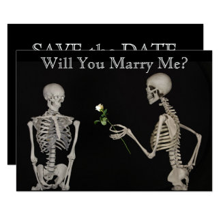 Skeleton Gives a Rose Save the Date Card
