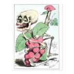 Skeleton grape theif vintage postcard