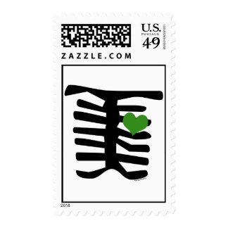 Skeleton Green Heart Stamps
