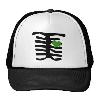Skeleton Green Heart Trucker Hat