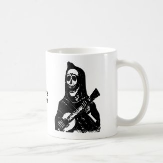 Skeleton Guitar Player Custom Name Mug