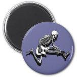 Skeleton Guitarist Jump 2 Inch Round Magnet