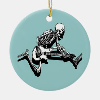 Skeleton Guitarist Jump Ceramic Ornament