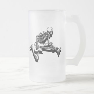 Skeleton Guitarist Jump Frosted Glass Beer Mug