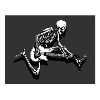 Skeleton Guitarist Jump Post Card