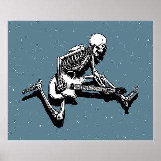 Skeleton Guitarist Jump Poster