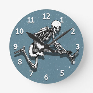 Skeleton Guitarist Jump Round Clock