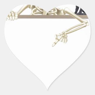 Skeleton Halloween Sign Heart Sticker