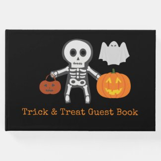 Skeleton Halloween Trick or Treat Boo Guest Book