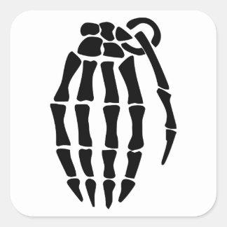 Skeleton Hand Grenade Square Sticker