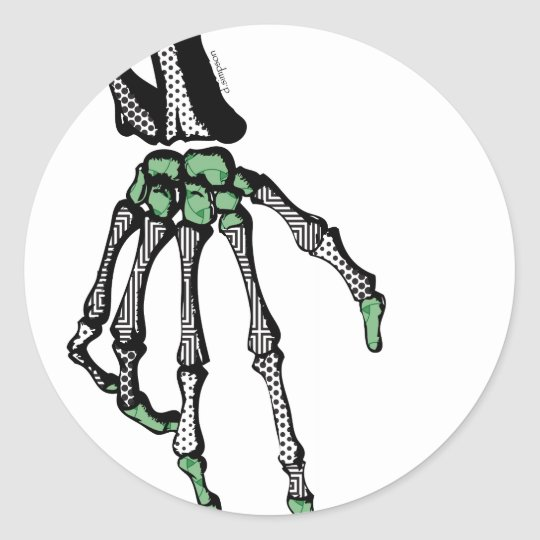SKELETON HAND OF FATE CLASSIC ROUND STICKER