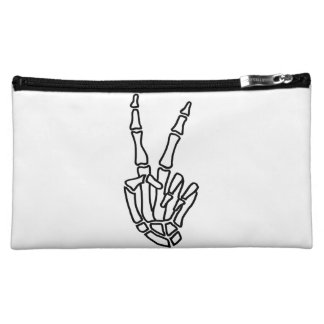 Skeleton hand peace sign makeup bag