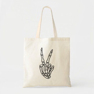 Skeleton hand peace sign tote bag