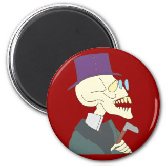 Skeleton hat eyeglasses skeleton has glasses 2 inch round magnet