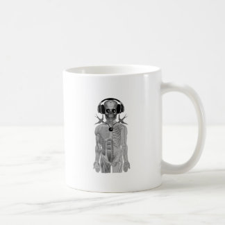 skeleton head phones double swallow eight ball coffee mug