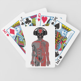 Skeleton Head Phones Lucky Eight Ball Eyes Red Bicycle Playing Cards