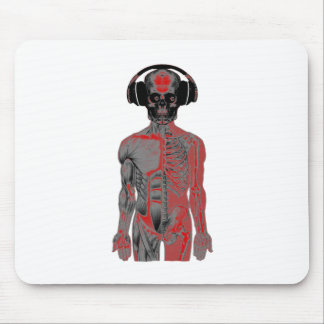 Skeleton Head Phones Lucky Eight Ball Eyes Red Mouse Pad