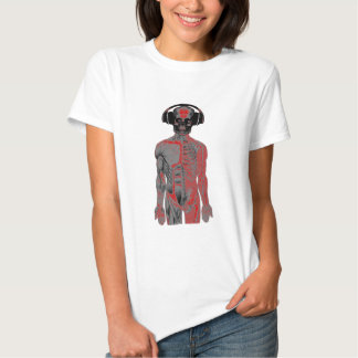 Skeleton Head Phones Lucky Eight Ball Eyes Red Shirt