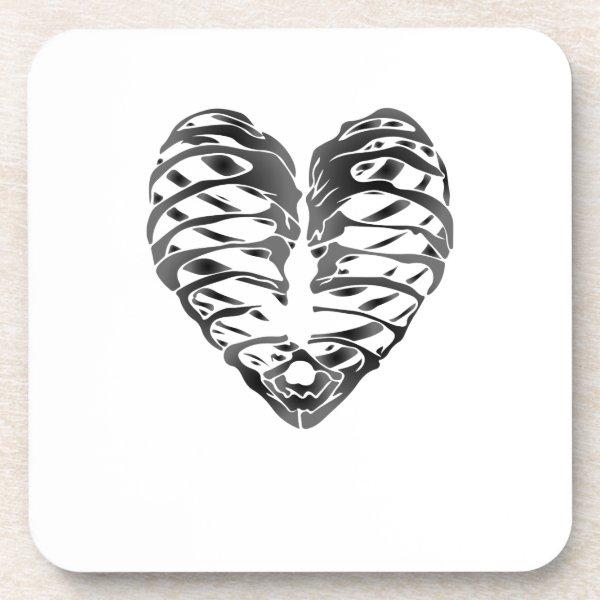 Skeleton Heart Halloween Funny Gifts Beverage Coaster