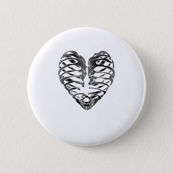 Skeleton Heart Halloween Funny Gifts Button