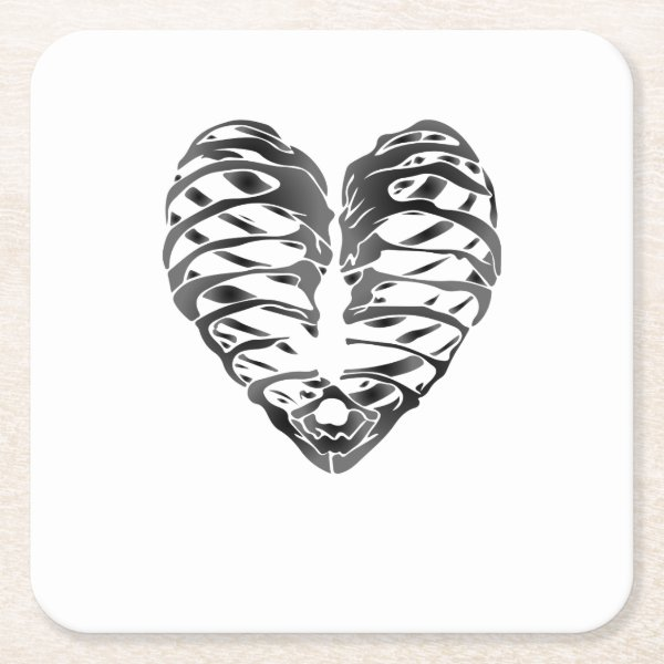 Skeleton Heart Halloween Funny Gifts Square Paper Coaster