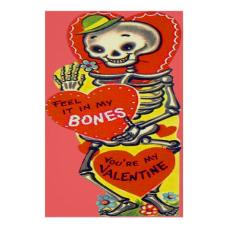 Skeleton Heart Halloween Vintage Valentine Print