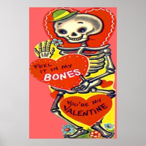 Skeleton Heart Halloween Vintage Valentine Poster