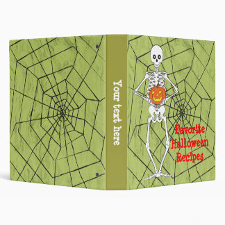 Skeleton holding a pumpkin 3 ring binder