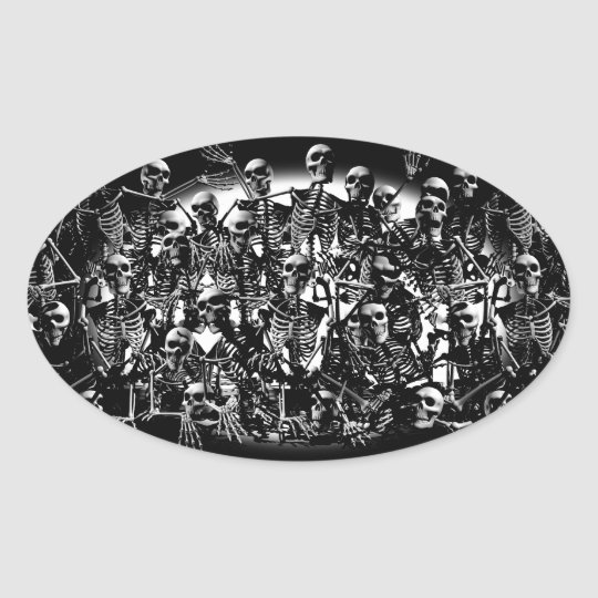 Skeleton Horde Oval Sticker