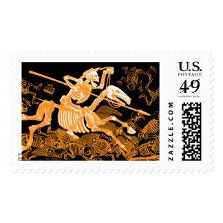 Skeleton Horseman Postage Stamp.