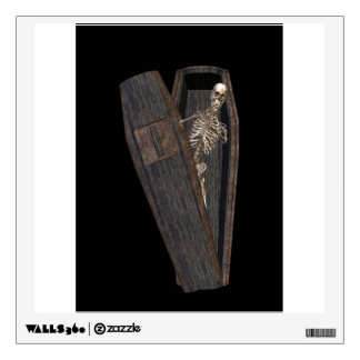 Skeleton in a coffin wall decal