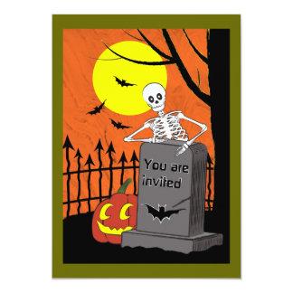 Skeleton in a grave yard card