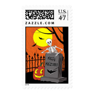 Skeleton in a graveyard postage