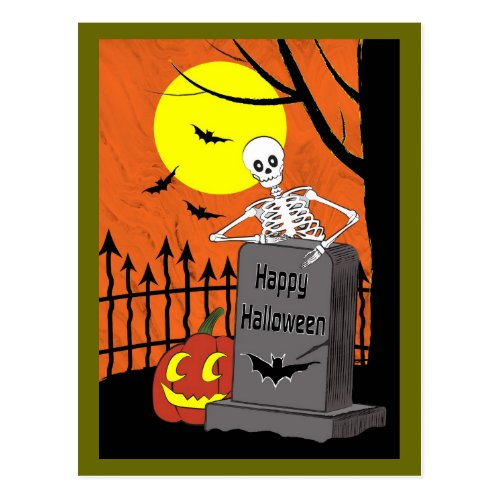 Skeleton in a graveyard postcard