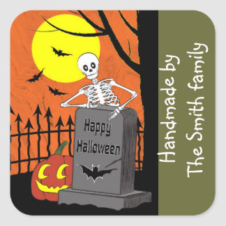 Skeleton in a graveyard square sticker