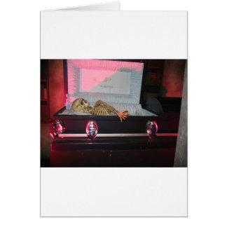 skeleton in coffin greeting card