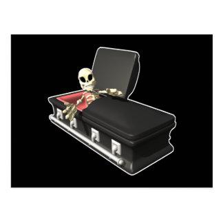 Skeleton-in-Coffin Postcard
