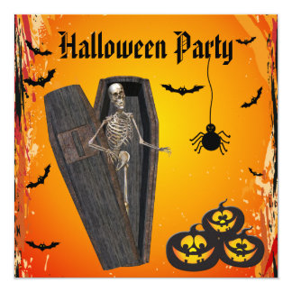 Skeleton in Coffin & Pumpkins Halloween Party Card