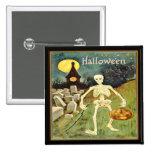 Skeleton in Graveyard Vintage Halloween Button