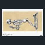 """Skeleton in Prayer Wall Sticker<br><div class=""""desc"""">Medical illustration of a human skeleton kneeling with hands in prayer. Published in Osteographia, or The Anatomy of Bones (1733) by William Cheselden. &quot;See on more styles&quot; with the link at right. ⚗ Try our other stores on Zazzle: /Curiosities_Shop ⚓ Medieval and Victorian Curiosities /dotpattern ♠ Digital Museum of Collectibles...</div>"""