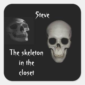 Skeleton in the Closet Personalized Square Sticker