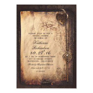 "skeleton key heart lock bridal shower invites 5"" x 7"" invitation card"