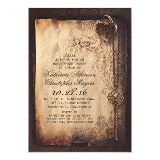 "skeleton key heart lock engagement party invite 5"" x 7"" invitation card"