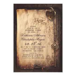 "skeleton key heart lock rehearsal dinner invite 5"" x 7"" invitation card"