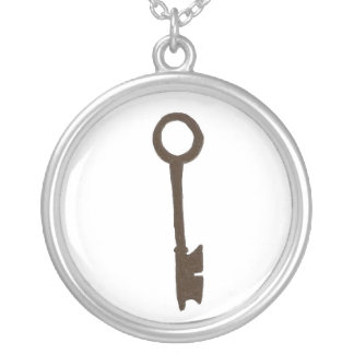 Skeleton Key in Slihouette Silver Plated Necklace