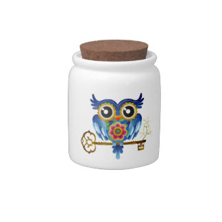 Skeleton Key Owl Candy Jar