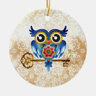 Skeleton Key Owl Christmas Tree Ornament