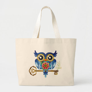 Skeleton Key Owl Large Tote Bag