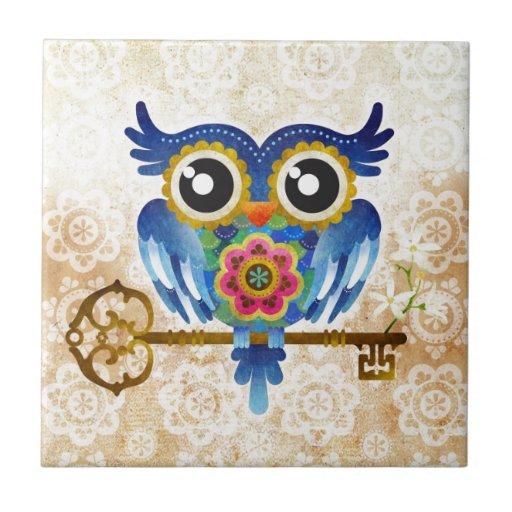 Skeleton Key Owl Small Square Tile