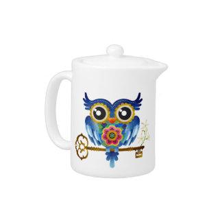 Skeleton Key Owl Teapot